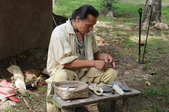 Flintknapping at the Cherokee Heritage Center, Tahlequah.